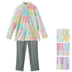Geometric print Fleece High-necked Pajama