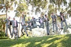 Silly #groomsmen pictures #Wedding #Photography #groom #florida #powelcrosley #fun #gray #pink