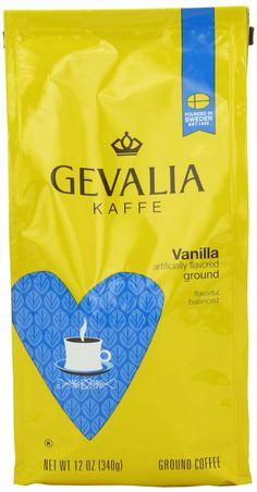 Gevalia Vanilla Flavored Coffee, Medium Roast, Ground, 12 Ounce Bag (Pack of 6)