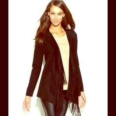 Black Long-Sleeve Fringed Open-Front Cardigan A luxurious layer finished with a hint of fringed boho flair, inc's open-front cardigan is the perfect way to transform your favorite tees and tanks into fashion-forward style statements. Front body: polyester/spandex; back body: rayon/nylon. Machine washable . Draped open front; no closures . Long sleeves . Suede fringe at placket. Easy fit. Hits at low hip . Great condition! INC International Concepts Sweaters Cardigans
