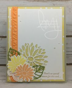 Welcome back friends! I just had no reason other than wanting to play with  some more new products from the 2017 Occasions Catalog. Can you tell I love  papercrafting?  Loving the big flower detailed framelit to allow the designer series paper  underneath to peek through.  Here is the inside message that comes with the stamp set.  Creative Color Combination  Ready to start seeing flowers pop up out of the grass.  Supplies  Click the photo(s) below to purchase the products used to create this…