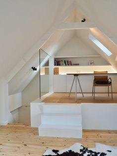 Attic Spaces, Attic Rooms, Attic Design, Bed Design, House Designs Ireland, Interior Architecture, Interior Design, Cedar Homes, Sleeping Loft