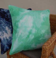 Mint green watercolour dip dyed cushion cover