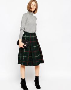 ASOS+Midi+Skirt+in+Wool+Check
