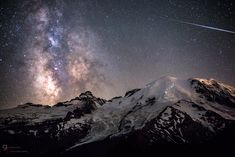 Ascent of Angels ... two lines of climbers with headlamps climb towards the top of Mount Rainier as the night sky dances above, taken during the Alpha Capricornids meteor shower. | by Goldpaint Photography on Flickr