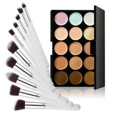 LEORX Face Contour Kit Highlighter Makeup Kit 15 Colour Cream Concealer Palette with 10pcs Brush ** More info could be found at the image url.