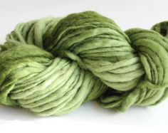 Avocado Green Color Hand Spun Hand Dyed Thick and Thin Chunky Wool Yarn