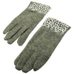 Gray Fuzzy Leopard Printed Gloves - Wool Blend Velvet Animal Print