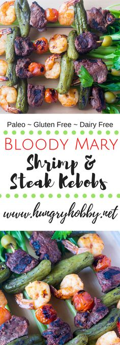 A fun zesty and juicy bloody Mary themed steak and shrimp kebob for your next backyard cookout! Paleo Friendly (gluten & dairy free) via @hungryhobby
