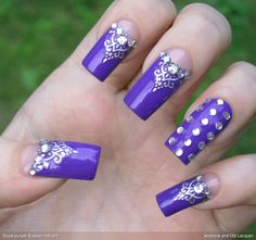 Acetone and Old Lacquer: Royal purple & silver nail art