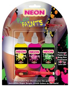 Neon Body Paints - 3 Pack www.PlayingNaughty.com