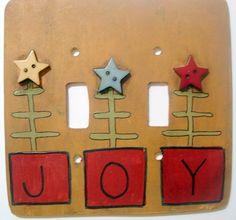 Primitive Folk Art Light Switch and Outlet Covers CHRISTMAS JOY. $11.79, via Etsy. Primitive Folk Art, Primitive Decor, Outlet Covers, Light Art, Primitives, Joy, Decorating, Christmas, Crafts