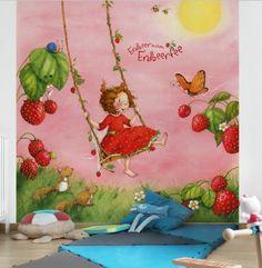 Awesome  Erdbeerinchen Vliestapete Kinderzimmer Tapete kinder Motiv Wandbild Erdbeere