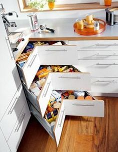 New Kitchen Corner Cupboard Organization Drawers Ideas Kitchen Utensil Storage, Kitchen Cupboard Organization, Diy Cupboards, Kitchen Storage Solutions, Kitchen Drawers, Kitchen Utensils, Corner Cabinets, Kitchen Cabinets, Cabinet Drawers