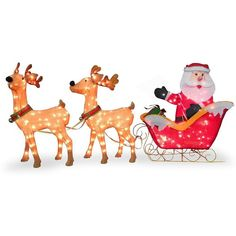 National Tree Company 86-in. Pre-Lit Santa & Reindeer Christmas Decor ($365) ❤ liked on Polyvore featuring home, home decor, holiday decorations, brown, outdoor holiday decor, holiday reindeer decorations, outside home decor, christmas home decor and christmas holiday decor