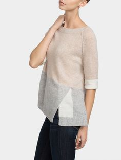 Cashmere Color Spliced Crewneck - Sale - WOMEN