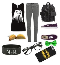 """""""gamer freak"""" by pengasarousrex ❤ liked on Polyvore featuring J Brand, Herschel Supply Co. and Vans"""