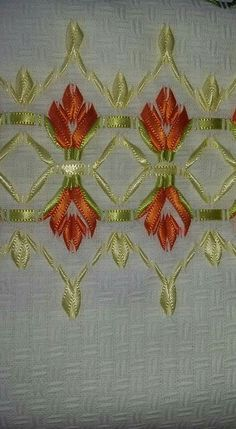 How To Make Ribbon Embroidery Flowers Step By Step; Embroidery Designs Hand Work between Ribbon Embroidery Instructions Free unlike Embroidery Floss Philippines Embroidery Designs, Ribbon Embroidery Tutorial, Embroidery Leaf, Learn Embroidery, Silk Ribbon Embroidery, Vintage Embroidery, Embroidery Needles, Cross Stitch Embroidery, Embroidery Patterns