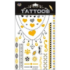 Necklace Jewelry Metallic Gold Silver Body Art Tattoos Sticker, Waterproof Non-Toxic Temporary Tattoo