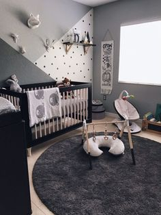 Nursery in deep monochromatic gray