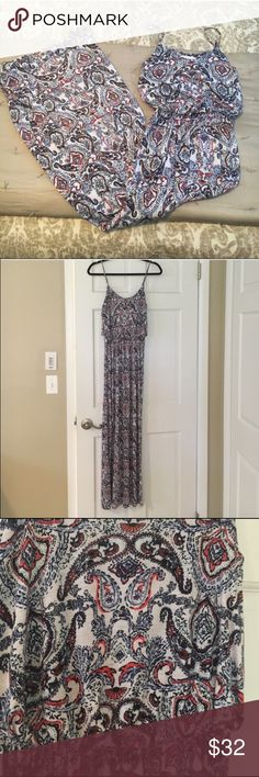 """Nordstrom Paisley Maxi Dress, Price is final Nordstrom Brand """"Lush"""" Maxi: Size: XS. NWOT. White pink and blue splashes of color Nordstrom Dresses Maxi"""