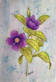 Ingekleurd met Derwent Inktense potloden  en Derwent Coloursoft kleurpotloden