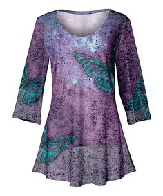 Take a look at this Purple & Blue Butterflies Three-Quarter-Sleeve Tunic - Women & Plus today!