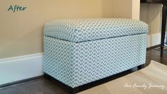 Great tutorial on how to recover an ottoman recovered after from guyerfamilyblog