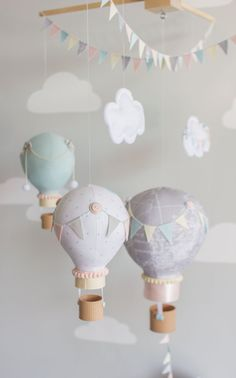 Hot Air Balloon Baby Mobile Elephant Nursery by sunshineandvodka
