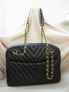 "Chanel 1990 Chevron ""V"" Quilt Shoulder Camera Bag in Black Leather - Jumbo by CharlinDesigns on Etsy https://www.etsy.com/listing/174385385/chanel-1990-chevron-v-quilt-shoulder"