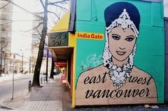 Mural on Indian restaurant. Vancouver, BC