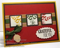 Stamping Imperfection For All Things•Card base:  Crushed Curry cut at 5-1/2 x 8-1/2″, score and fold at 4-1/4″ •Early Espresso:  cut at 4 x 5-1/4″ •Cajun Craze:  cut at 3-3/4 x 5″