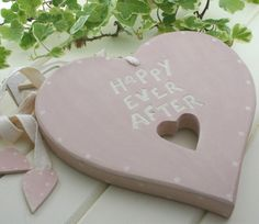 East of India - wooden `happy ever after` pink and cream heart on cotton ribbon - ideal alternative to a horse shoe