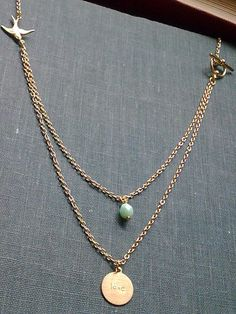 Vintage Style Brass Gold Swallow Love Tag & Mint Bead Dual Layer Charm Necklace £8.49