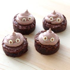 Recipe with video instructions: The emoji you never thought you'd eat actually tastes delicious. Ingredients: Brownies6 oz bittersweet chocolate1/2 cup unsalted butter1 1/2 cups sugar3 eggs1/4 cup cocoa powderpinch of salt½ cup + 2 tbsp cup all-purpose flour1/3 cup mini chocolate chips, Buttercream1 cup unsalted butter, room temperature1 tsp vanilla extract2 ½ - 3 cups icing sugar2 tbsp cocoa powderbrown food coloring, white chocolate chipsmilk chocolate, melted