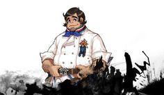 被廚神選中的「總舖師」,雖然是個沉默寡言的大叔,但製作料理時比誰都熱心