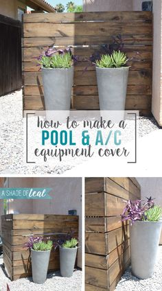 More inspiration today!Are you tired of seeing your ugly AC or pool equipment? Then read on to find easy ways to hide it! This time Ill show you my inspiration on hiding your AC & pool e Pool Equipment Enclosure, Pool Equipment Cover, Landscaping Around Pool, Backyard Landscaping, Landscaping Ideas, Backyard Pools, Southern Landscaping, Hydrangea Landscaping, Gardens