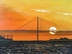 "Golden Gate, 1993; oil on canvas, 14""x18"", 2017 (From the series, Sunsets I have seen. Title date is when last seen.)"