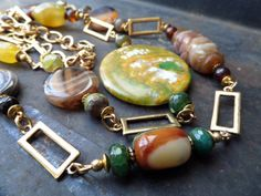 Brown Agate NecklaceBrown Yellow Stone by CodettiSupply on Etsy
