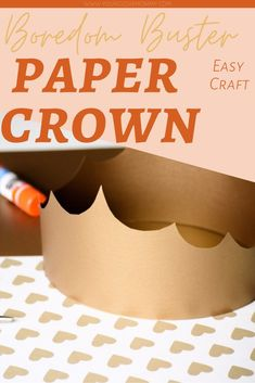 Easy Craft for Kids - need ideas for what to do with your kids when they are home? Try this Paper Crown Craft, kids can make, cut and glue. Plus there are endless possibilities with costume play Crown Crafts, Diy Crown, Craft Kids, Crafts For Kids, Crown For Kids, Travel Crafts, Paper Crowns, Boredom Busters, All Family