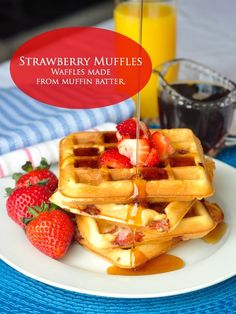 Strawberry Muffles - Muffles are waffles made from muffin batter. This strawberry version is delicious but it will work with other berries or chopped stone fruits as well.
