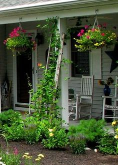 USE LADDER AS SUPPORT FOR CLIMBING FLOWERS Garden Planning Ideas for Your Home - Town & Country Living