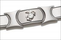 Men's Marine Corps Bracelet - Silver Emblem