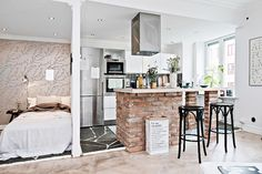 one-room Scandinavian apartment kitchen and sleeping area wall - Home Decorating Trends - Homedit One Room Apartment, Apartment Interior, Apartment Living, Studio Apartment, Apartment Kitchen, Scandinavian Apartment, Scandinavian Home, Tiny Apartments, Tiny Spaces