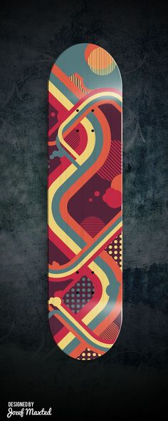This design is visually interesting because it is created with the use of all circles and curved lines. I think the color combinations all work very well together because they are in the same tone of various different colors. Also I like how the main curved line connects the top to the bottom of the board. skateboard design