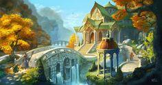 Gandalf and Bilbo arriving in Rivendell Fantasy Art Landscapes, Fantasy Landscape, Landscape Art, Fantasy Artwork, Fantasy Places, Fantasy World, Jrr Tolkien, Architecture Art Design, Concept Architecture