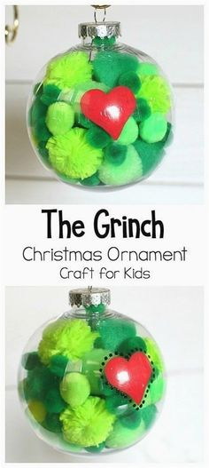 58db46533f471 The Grinch Christmas Ornament Craft for Kids  DIY Grinch Ornament using  clear plastic bulbs and