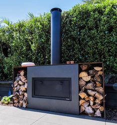 Modern Outdoor Fireplace, Outdoor Fireplaces, Oven Inspiration, Fireplace Gallery, Metal Furniture, Furniture Design, Chimney Cap, Custom Fireplace, Through The Roof