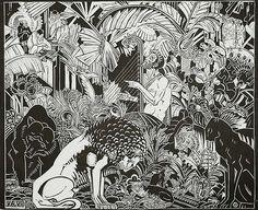 Orpheus Playing for the Animals - HENRI VAN DER STOK - woodcut