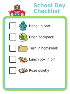 This list can help special needs kids remember what they need to do when they arrive at school each day. These kind of detailed picture checklists are a great way to help kids stay independent but still do all the things that are expected of them. School Checklist, Kids Checklist, Kids Schedule, School Schedule, Printable Activities For Kids, Free Printables, Kids Routine Chart, Manners For Kids, Chore Chart Kids